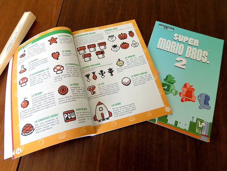 Pages de listing des items du Guide Super Mario Bros. 2.