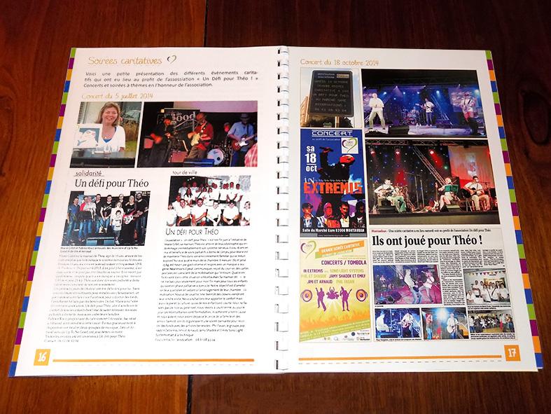 Pages intérieures de la brochure pour l'association Un défi pour Théo !